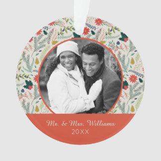 休日の写真|のメリークリスマスの休日の花柄 オーナメント