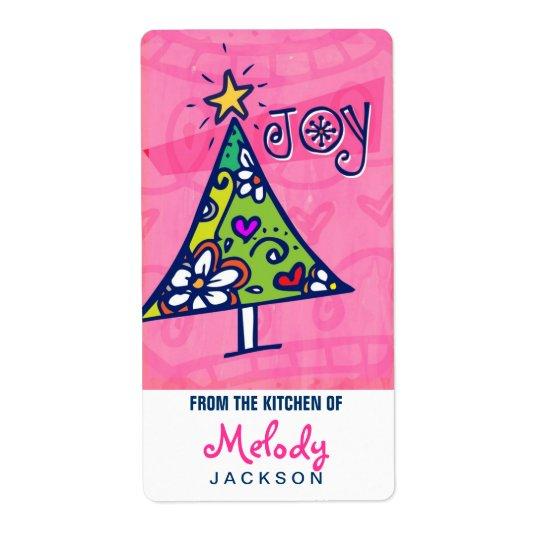 休日の喜びのクリスマスツリー、台所ラベル ラベル