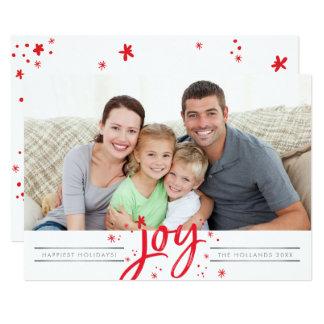 休日の喜びの写真のモダンでシンプルな赤の輝き 12.7 X 17.8 インビテーションカード