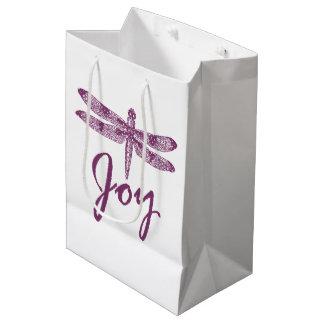 休日の喜びの紫色のトンボ ミディアムペーパーバッグ