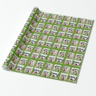 休日の喜びの緑の4つの写真のInstagramのコラージュ ラッピングペーパー