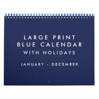 休日の大活字のブランクの青いカレンダー カレンダー
