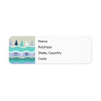 休日の宛名ラベルのモミの木の雪片 返信用宛名ラベル