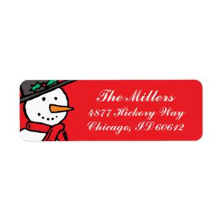 休日の差出人住所ラベル: 雪だるまの赤 ラベル