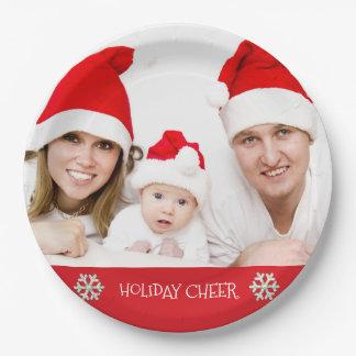 休日の応援モダンな家族の休日の写真のプレート ペーパープレート