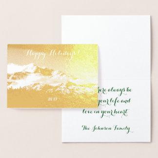 休日の揺らめく金ゴールドホイルのDenali山 箔カード