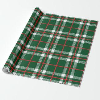 休日の格子縞の包装紙の緑 ラッピングペーパー