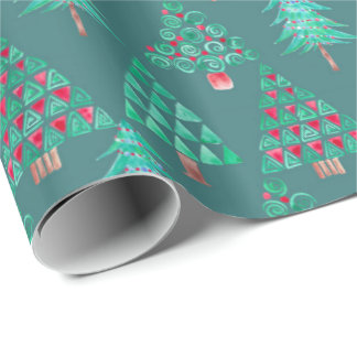 休日の水彩画のクリスマスツリーのギフト用包装紙のティール(緑がかった色) ラッピングペーパー