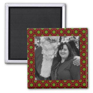 休日の水玉模様の正方形の写真フレーム マグネット