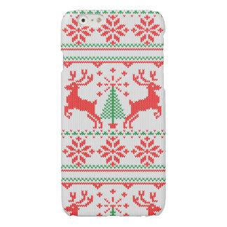 休日の白いニットのクリスマスの醜いセーターのHoシカ