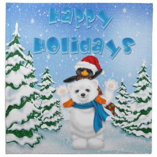 休日の白くまのペンギンの布のナプキン(4)を置いて下さい ナプキンクロス