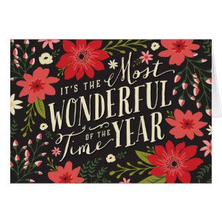 休日の花の挨拶状 グリーティングカード