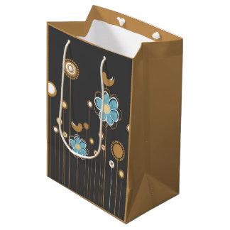 休日の花柄のギフトバッグ ミディアムペーパーバッグ