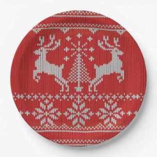休日の赤いニットの醜いクリスマスのセーターのHoシカ ペーパープレート