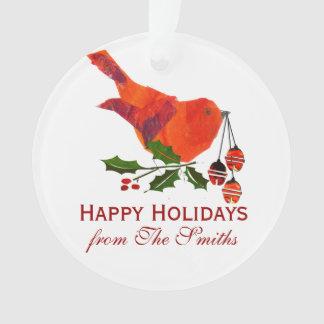 休日の赤い鳥の雪の自然のクリスマス オーナメント