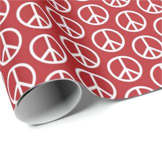 休日の赤のピースサイン 包装紙