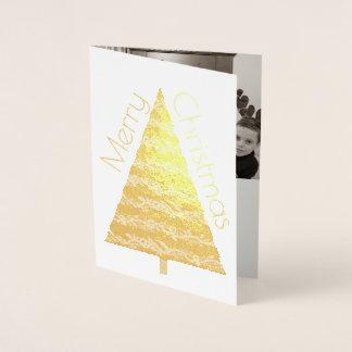 休日の金ゴールドの木のメリークリスマスはあなたの写真を加えます 箔カード