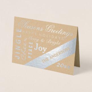 休日の銀製のタイポグラフィは写真のカスタム年を加えます 箔カード