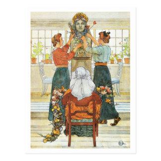 休日の間飾っている姉妹 ポストカード