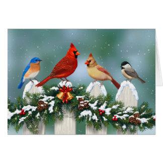 休日の鳥及びクリスマスの花輪 カード