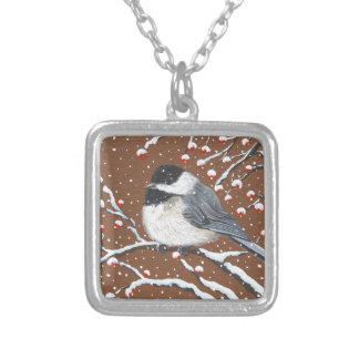 休日の《鳥》アメリカゴガラ シルバープレートネックレス