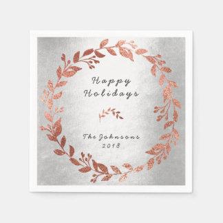 休日を結婚する銀製のローズピンクの金ゴールド スタンダードカクテルナプキン