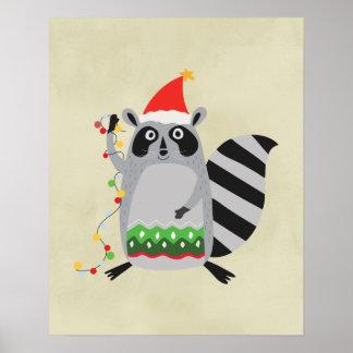 休日ライトでもつれるサンタの帽子のアライグマ ポスター