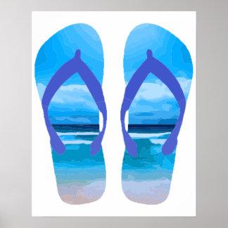 休暇のおもしろいのビーチサンダルの夏のビーチの芸術 ポスター