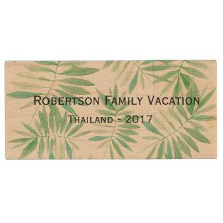 休暇の休日の写真ドライブ-熱帯シダ ウッドUSBフラッシュドライブ