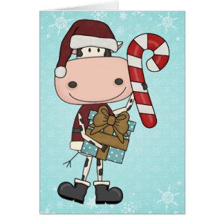 休暇の季節のギフト-牛 カード