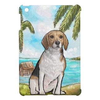 休暇の熱帯ビーチのビーグル犬 iPad MINIケース