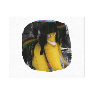 会場の詰まったなラスタのバナナ キャンバスプリント