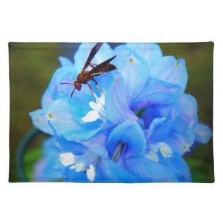 会社が付いている青い花 ランチョンマット