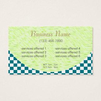 会社カードII U一突き色の白いチェック模様のタイル 名刺