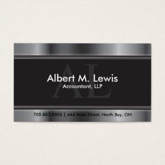 会計のアポイントメントカードの銀のモノグラム 名刺