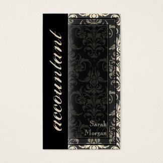 会計の名刺-上品なダマスク織パターン 名刺