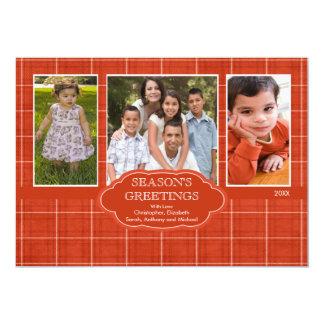 伝統のクリスマスの格子縞3の写真の挨拶状 カード