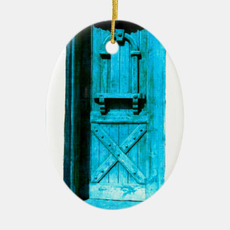 伝統的で素朴で青いドアSantoriniギリシャ セラミックオーナメント