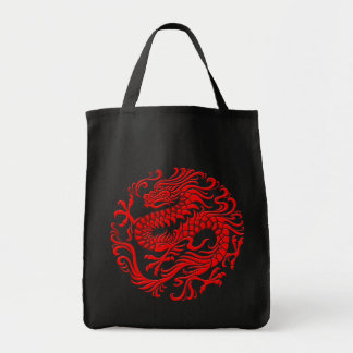 伝統的で赤く中国のなドラゴンの円 トートバッグ