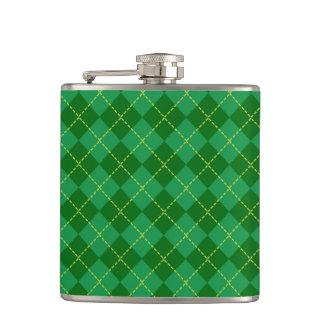 伝統的なアイルランドの格子縞のタータンチェックの緑パターン フラスク