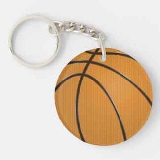 伝統的なオレンジのバスケットボールのデザインおよび黒い キーホルダー