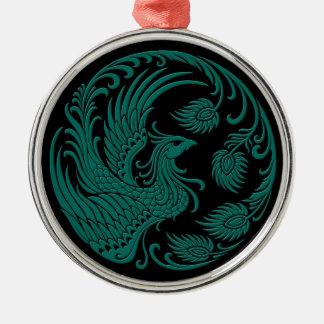 伝統的なティール(緑がかった色)の黒の青いフェニックスの円 メタルオーナメント