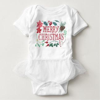 伝統的な植物のクリスマス(白い) ベビーボディスーツ