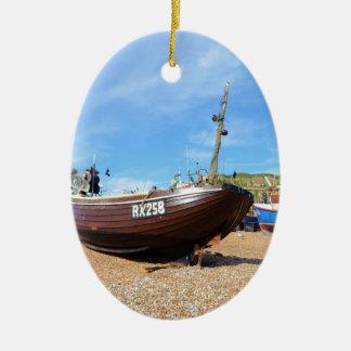 伝統的な漁船 セラミックオーナメント