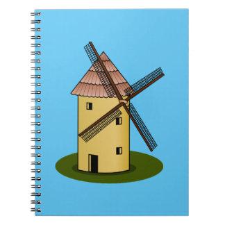 伝統的な漫画のヨーロッパ人の風車 ノートブック