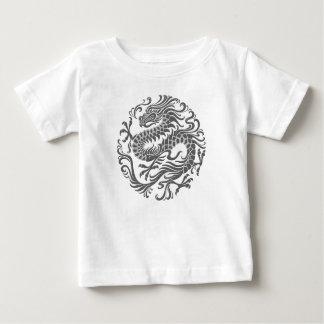 伝統的な灰色の中国のなドラゴンの円 ベビーTシャツ