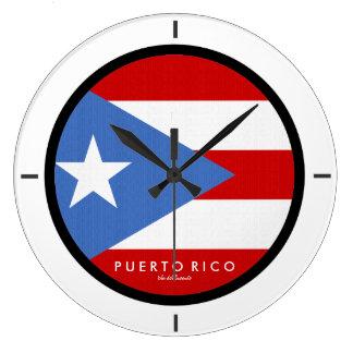 伝統的、プエルトリコの旗 ラージ壁時計