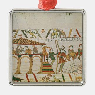 伯爵によってハロルドは帆が食事し、次に置きます シルバーカラー正方形オーナメント