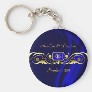 伯爵夫人の青い絹の金ゴールドスクロールKeychain キーホルダー
