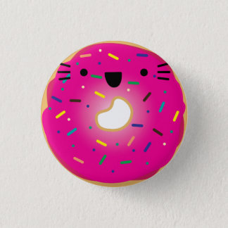 伸びるいちご猫ドーナツボタン 3.2CM 丸型バッジ